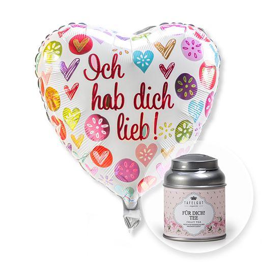 Partybedarfballons - Ballon Ich hab dich lieb! und Für Dich Tee - Onlineshop Valentins
