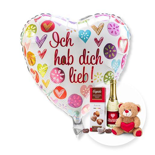 Ballon Ich hab dich lieb! und Geschenk-Set Valentinstag