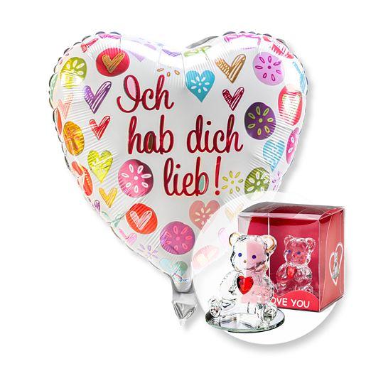 Partybedarfballons - Ballon Ich hab dich lieb! und Glasbär mit Herz - Onlineshop Valentins