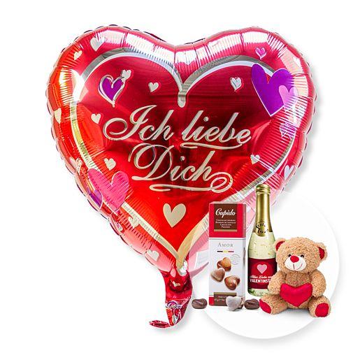 Ballon Ich liebe Dich und Geschenk-Set Valentinstag