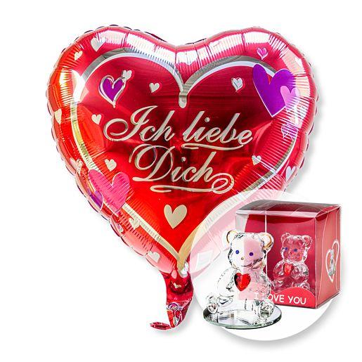 Partybedarfballons - Ballon Ich liebe Dich und Glasbär mit Herz - Onlineshop Valentins