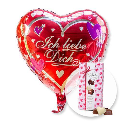 Partybedarfballons - Ballon Ich liebe Dich und Herz Pralinen Trio - Onlineshop Valentins