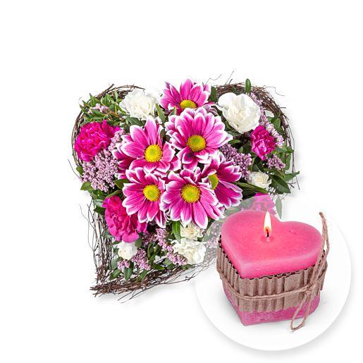 Für Dich und Herz-Kerze