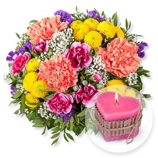 Lieber Gruß und Herz-Kerze