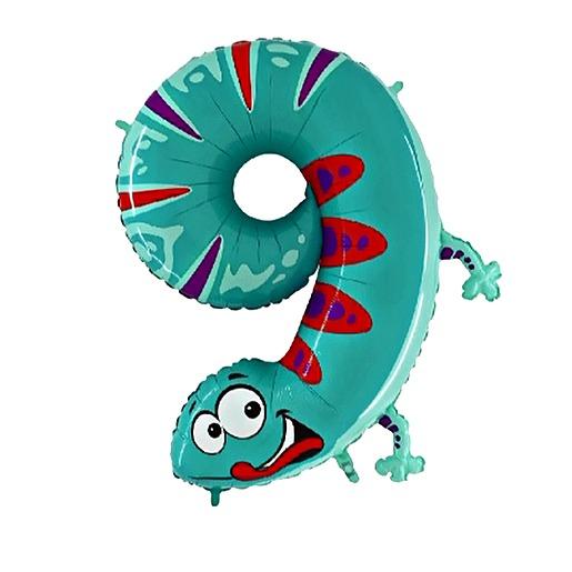 Partybedarfballons - Tierischer Zahlen Ballon 9 Gecko - Onlineshop Valentins