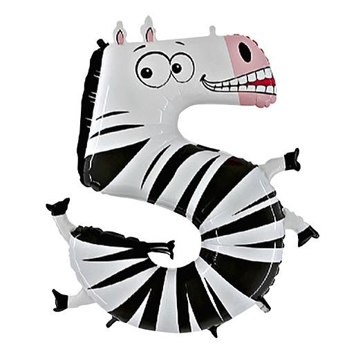 Partybedarfballons - Tierischer Zahlen Ballon 5 Zebra - Onlineshop Valentins