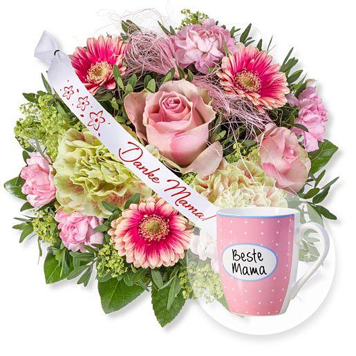 - 1.000 Dank und Schleife Danke Mama! und Tasse Beste Mama - Onlineshop Valentins