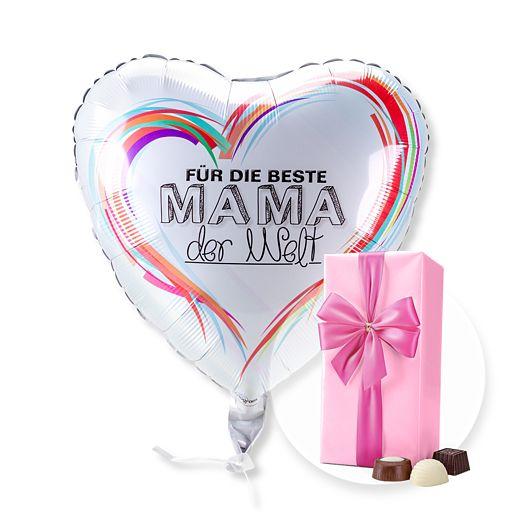 Ballon Für die Beste Mama der Welt und Belgische Pralinen