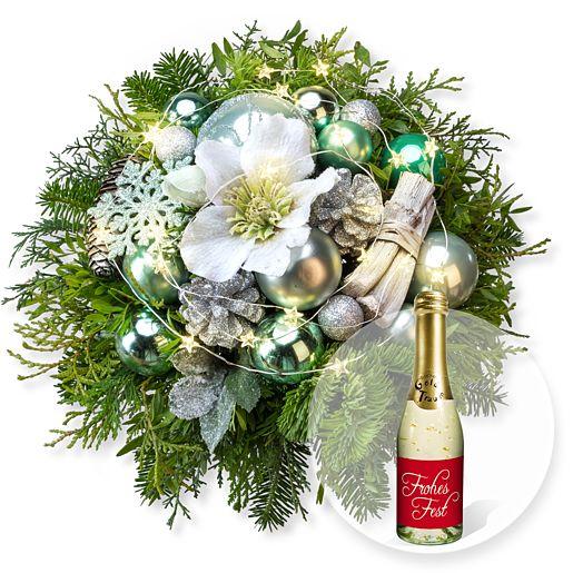 Weihnachtsglanz mit Lichterkette und Xmas Goldtraum Piccolo