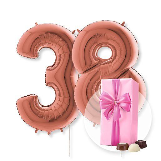 Partybedarfballons - Riesenballon Set Wunsch Ziffern rose gold und Belgische Pralinen - Onlineshop Valentins