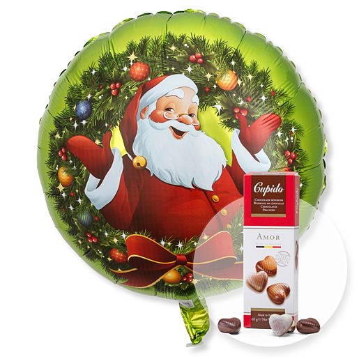 Ballon Nostalgie Santa und Pralinen Herzen