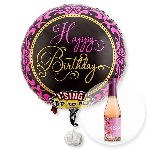 Singender Ballon Happy Birthday Glamour und Kirschblüten-Secco