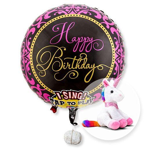 Partybedarfballons - Singender Ballon Happy Birthday Glamour und Plüsch Einhorn - Onlineshop Valentins