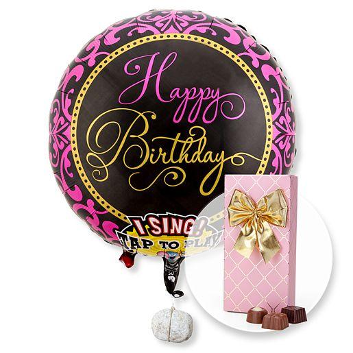 Singender Ballon Happy Birthday Glamour und Belgische Pralinen Auslese