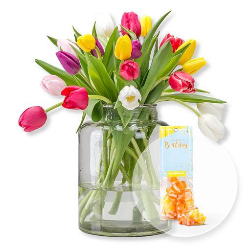 20 bunte Tulpen und Fruchtgummi Happy Birthday