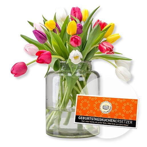 20 bunte Tulpen und Schokolade Geburtstagskuchenersetzer