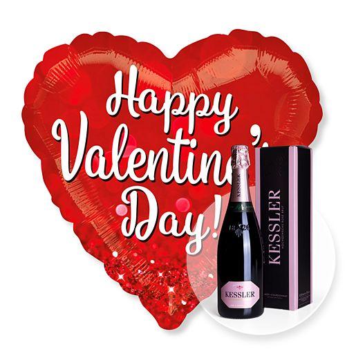 Riesenballon Happy Valentines Day Glitzer und Kessler Rose Sekt