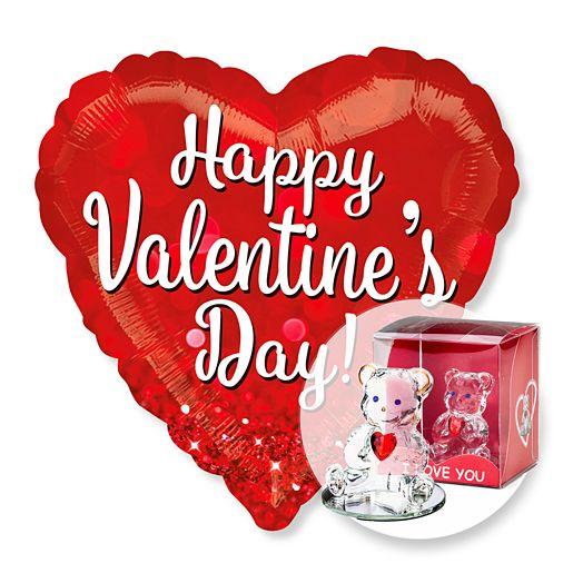 Riesenballon Happy Valentines Day Glitzer und Glasbär mit Herz