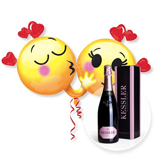 Riesenballon Emojis in Love und Kessler Rose Sekt