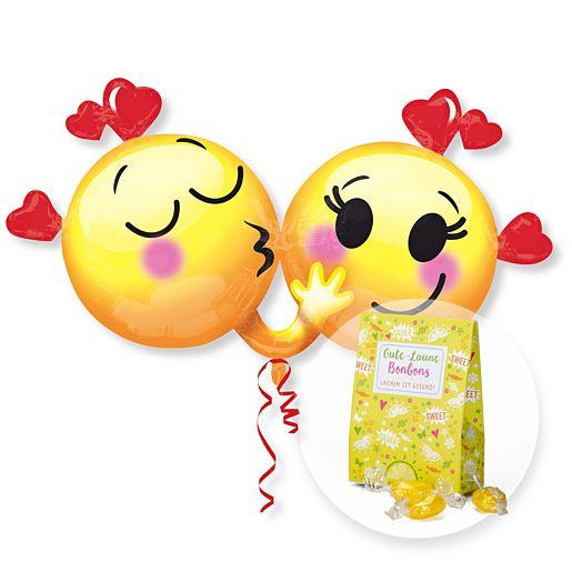 Partybedarfballons - Riesenballon Emojis in Love und Gute Laune Bonbons - Onlineshop Valentins