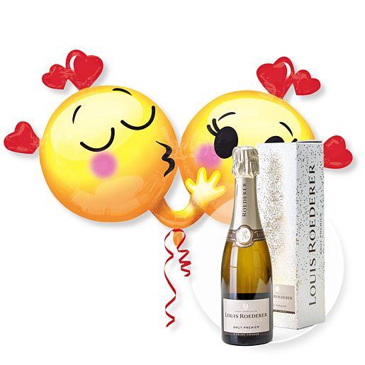 Partybedarfballons - Riesenballon Emojis in Love und Champagner Louis Roederer Brut Premier - Onlineshop Valentins