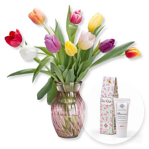 10 bunte Tulpen mit Tulpenvase und Blütenrausch Pfingstrosen Handcreme Für Dich