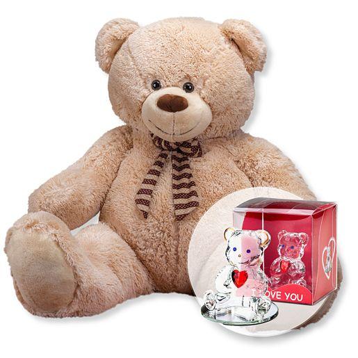 XXL-Teddybär (150cm) und Glasbär mit Herz