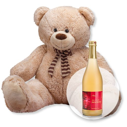 XXL-Teddybär (150cm) und Rosenblüten-Secco Alles Liebe zum Valentinstag