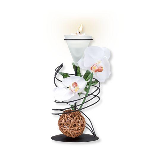 Teelichthalter mit weißer Orchideen Deko und Vintage Herz Beste Mama der Welt!