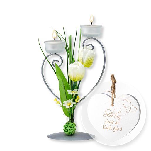 Teelichthalter mit weißer Blumen-Deko und Vintage-Herz Schön, dass es Dich gibt!