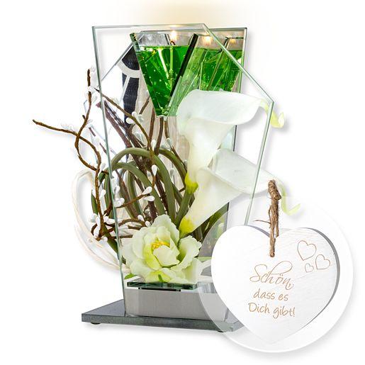Glas-Spiegel-Windlicht mit Blumen-Deko und LED ...