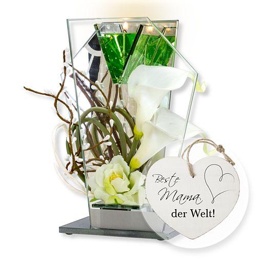 Glas-Spiegel-Windlicht mit Blumen-Deko und LED und Vintage-Herz Beste Mama der Welt!