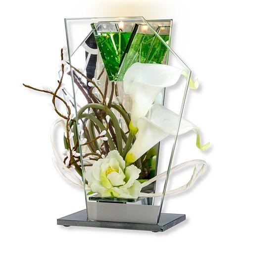 Glas-Spiegel-Windlicht mit Blumen-Deko und LED
