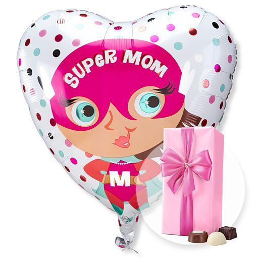 Ballon Super Mom und Belgische Pralinen