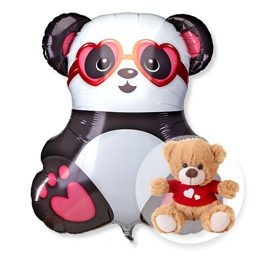Partybedarfballons - Riesenballon Panda in Love und Love Teddy - Onlineshop Valentins