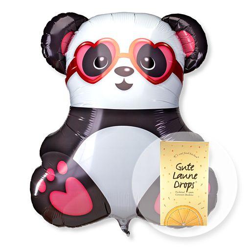 Riesenballon Panda in Love und Gute Laune Drops