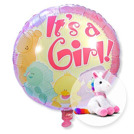 Ballon Babygirl und magisches Plüsch-Einhorn