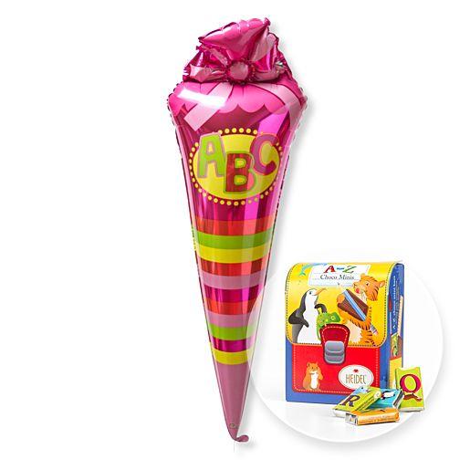 Partybedarfballons - Ballon pinke ABC Schultüte und Schulranzen Naschtüte - Onlineshop Valentins