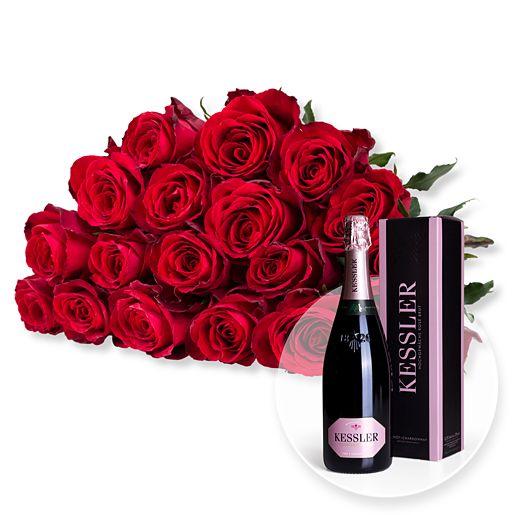 18 rote Rosen und Kessler Rose Sekt
