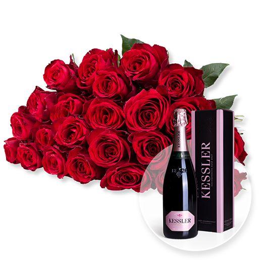 23 rote Rosen und Kessler Rose Sekt