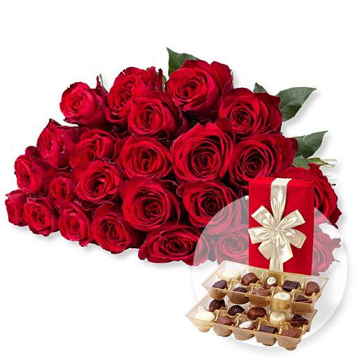 23 rote Rosen und Belgische Pralinen