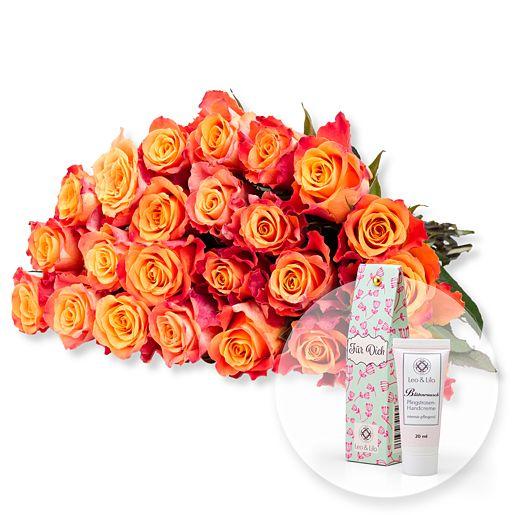 23 gelb-orangefarbene Rosen und Blütenrausch Pfingstrosen-Handcreme Für Dich