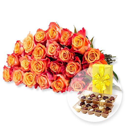 23 gelb-orangefarbene Rosen und Belgische Pralinen