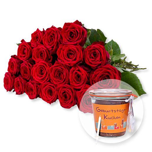 Nützlichblumen - 20 langstielige rote Premium Rosen und Kuchen im Glas Geburtstag - Onlineshop Valentins