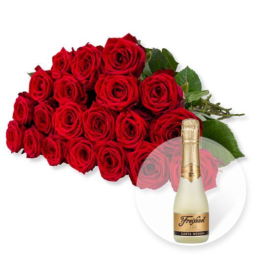 20 langstielige rote Premium-Rosen und Freixenet Semi Seco