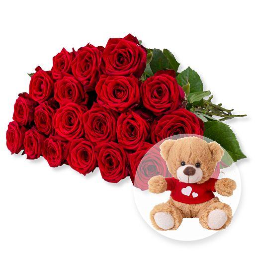 Nützlichblumen - 20 langstielige rote Premium Rosen und Love Teddy - Onlineshop Valentins