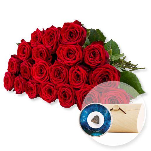 20 langstielige rote Premium-Rosen und Echte Sternschnuppe