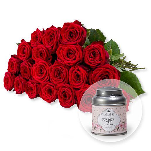 20 langstielige rote Premium-Rosen und Für Dich...