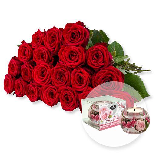 Nützlichblumen - 20 langstielige rote Premium Rosen und Dreamlight Für Dich - Onlineshop Valentins