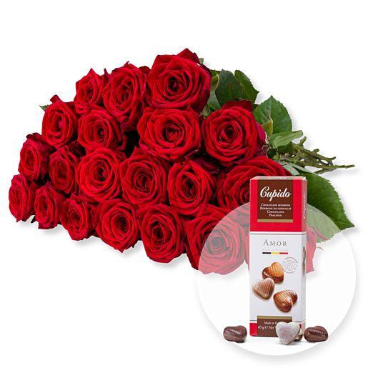 20 langstielige rote Premium-Rosen und Pralinen-Herzen